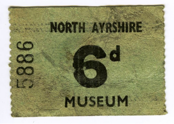 Ticket to enter the North Ayrshire Museum, found when moving the Ardrossan Sarcophagus to its present position in the centre.