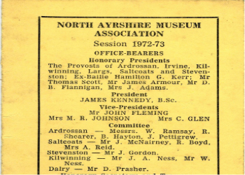 Membership Card of the North Ayrshire Museum Association.