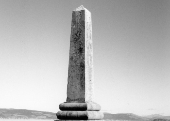 The obelisk erected by Commander Robinson and his officers to the two drowned boys. Their bodies were never recovered so this monument was erected on the land nearest to where they went missing.