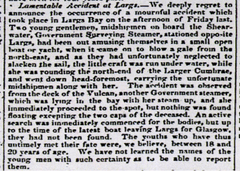 Glasgow Herald report of 20th May 1844 about the drownings.